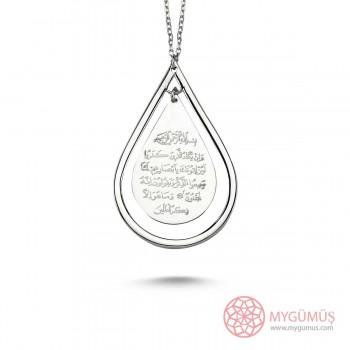 Nazar Ayeti Duası Yazılı Gümüş Kolye MY101242