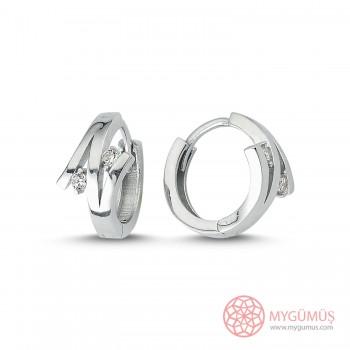Nilüfer Halka Gümüş Küpe MYG057