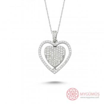 Ortası Dönebilen İsimli Kalp Gümüş Kolye MY101185