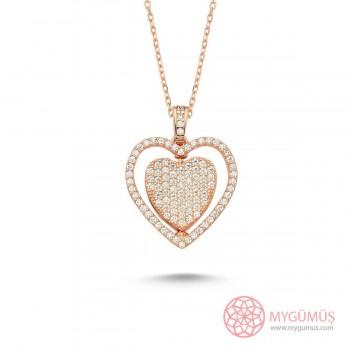 Ortası Dönebilen İsimli Kalp Gümüş Kolye MY101186