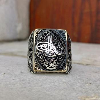 Osmanlı Tuğra Motifli Erkek Gümüş Yüzük MY101830