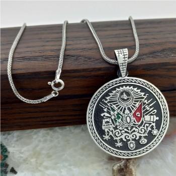 Osmanlı Tuğrası Gümüş Madalyon Kolye MY101871