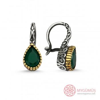 Otantik Tasarım Yeşil Taşlı Damla Gümüş Küpe MY111066