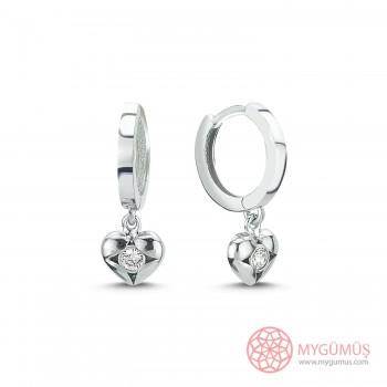 Özel Seri Kalp İçinde Tek Taş Halka Gümüş Küpe MYG076