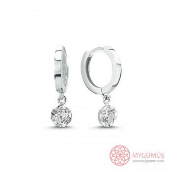 Özel Seri Tek Taş Halka Gümüş Küpe MYG073