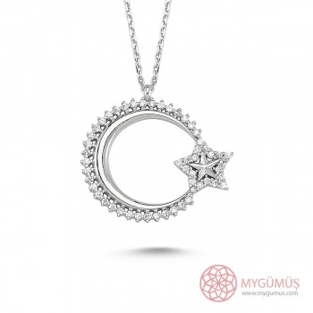 Özel Tasarım Ay Yıldız Gümüş Kolye MY0301047