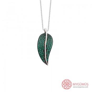 Özel Tasarım Yeşil Yaprak Gümüş Kolye MY101860