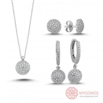 Pırlanta Kesim Zirkon Taşlı Gümüş Kolye Küpe Set MY101631