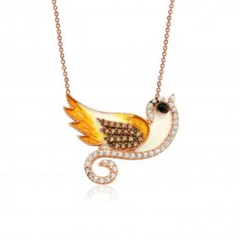 Kuş Figürlü Mineli Gümüş Kolye MY0201015