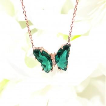 Renkli Taşlı Kelebek Gümüş Kolye MY102422