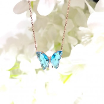 Renkli Taşlı Kelebek Gümüş Kolye MY102425