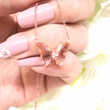 Renkli Taşlı Kelebek Gümüş Kolye MY102426