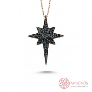 Safir Taşlı Kutup Yıldızı Gümüş Kolye MY101398