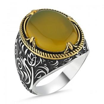 Sarı Kehribar Taşlı Erkek Gümüş Yüzük MY101821