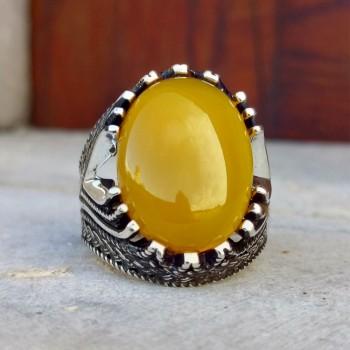 Sarı Zirkon Taşlı Erkek Gümüş Yüzük MY101985