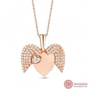 İsme Özel Sihirli Kalp Gümüş Kolye MY101442
