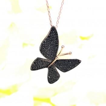 Siyah Çoktaşlı Kelebek Gümüş Kolye MY000103