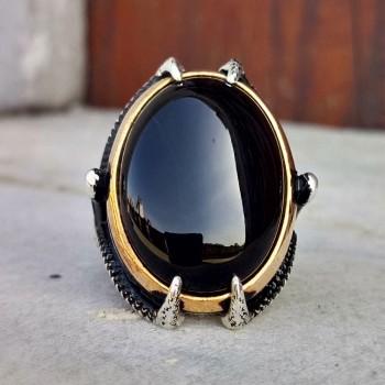 Kartal Pençesi Siyah Oniks Taşlı Erkek Gümüş Yüzük MY101982