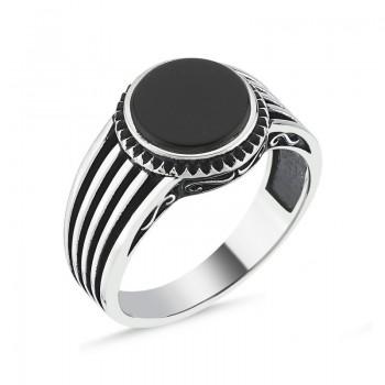 Siyah Taşlı Erkek Gümüş Yüzük MY101808