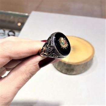Siyah Taşlı Osmanlı Armalı Erkek Gümüş Yüzük MY102219
