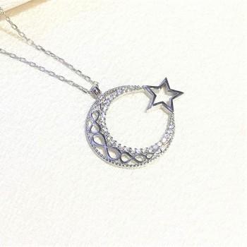 Sonsuzluk Ay Yıldız Gümüş Kolye MY102077