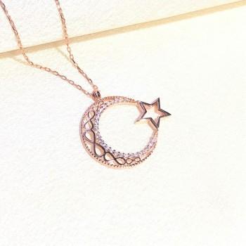 Sonsuzluk Ay Yıldız Rose Gümüş Kolye MY102077R