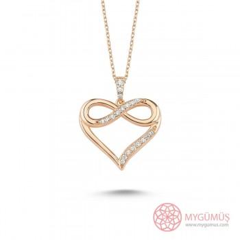 Sonsuzluk İşlemeli Kalp Gümüş Kolye MY101450