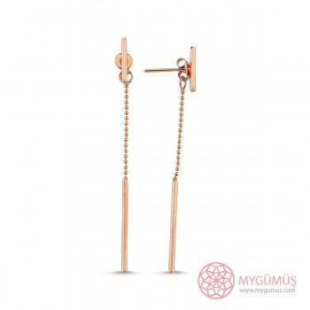 Tasarım Top Zincirli Gümüş Küpe MYG32