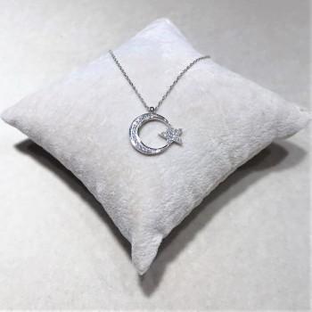 Taşlı Ay Yıldız Bayan Gümüş Kolye MY102156