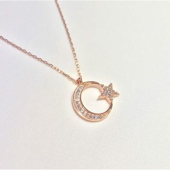 Taşlı Ay Yıldız Bayan Gümüş Kolye MY102157