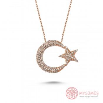 Taşlı Büyük Ay Yıldız Gümüş Kolye MY101192