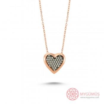 Taşlı Kalp Gümüş Kolye MY101196