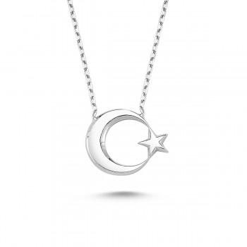 Ay Yıldız Gümüş Kolye MY100055