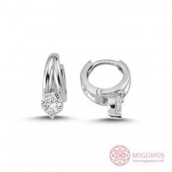 Tek Taşlı Halka Gümüş Küpe MYG061