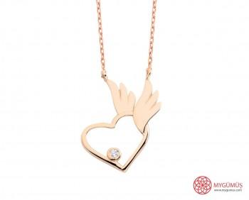 Pietra Kanatlı Kalp Gümüş Kolye MY101658