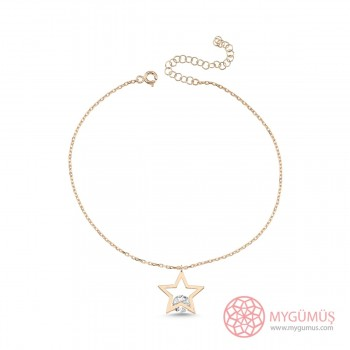 Tek Taşlı Yıldız Gümüş Halhal MYH00105