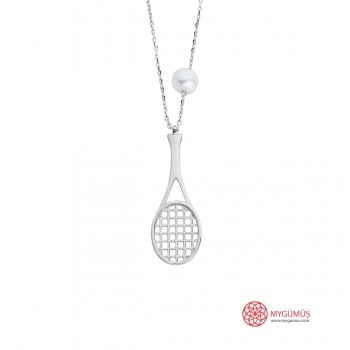 Tenis Raketi Gümüş Kolye MY101370