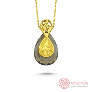 Tesir Nazzar Tuğra İşlemeli Damla Gümüş Kolye MY101789