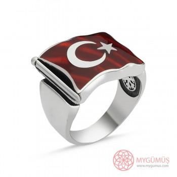 Türk Bayrağı Motifli Erkek Gümüş Yüzük MY101218