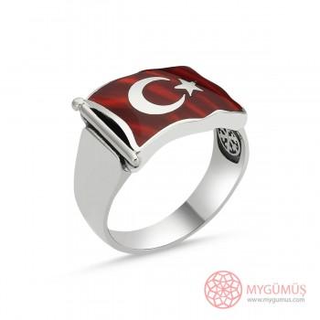 Türk Bayrağı Motifli Erkek Gümüş Yüzük MY101224