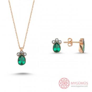 Üç Taş Yeşil Damla Gümüş Kolye Küpe Set MY101759