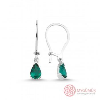 Yeşil Damla Gümüş Küpe MYG099