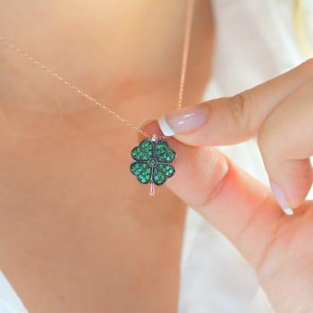 Yeşil Dört Yapraklı Yonca Gümüş Kolye MY101367