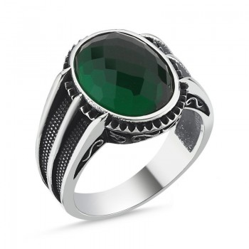 Yeşil Faset Erkek Gümüş Yüzük MY101810