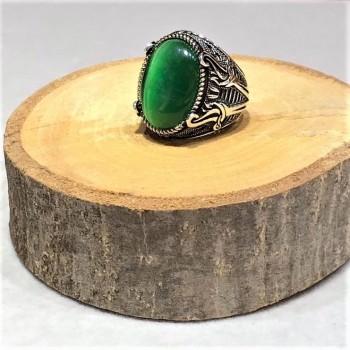 Yeşil Kedi Gözlü Taşlı Erkek Gümüş Yüzük MY101833
