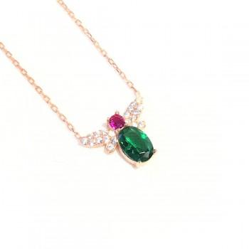 Yeşil Taşlı Ateşböceği Gümüş Kolye MY102143