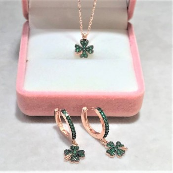 Yeşil Taşlı Yonca Gümüş Kolye Küpe Set MY102202