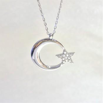 Yıldızı Zirkon Taşlı Ay Yıldız Gümüş Kolye MY102158