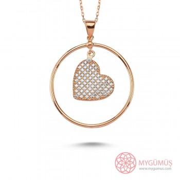 Yuvarlak Kalp Sallantılı Gümüş Kolye MY101319