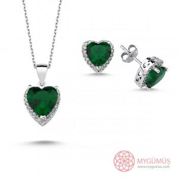 Zümrüt Kalpli Gümüş Mini Set MY101856
